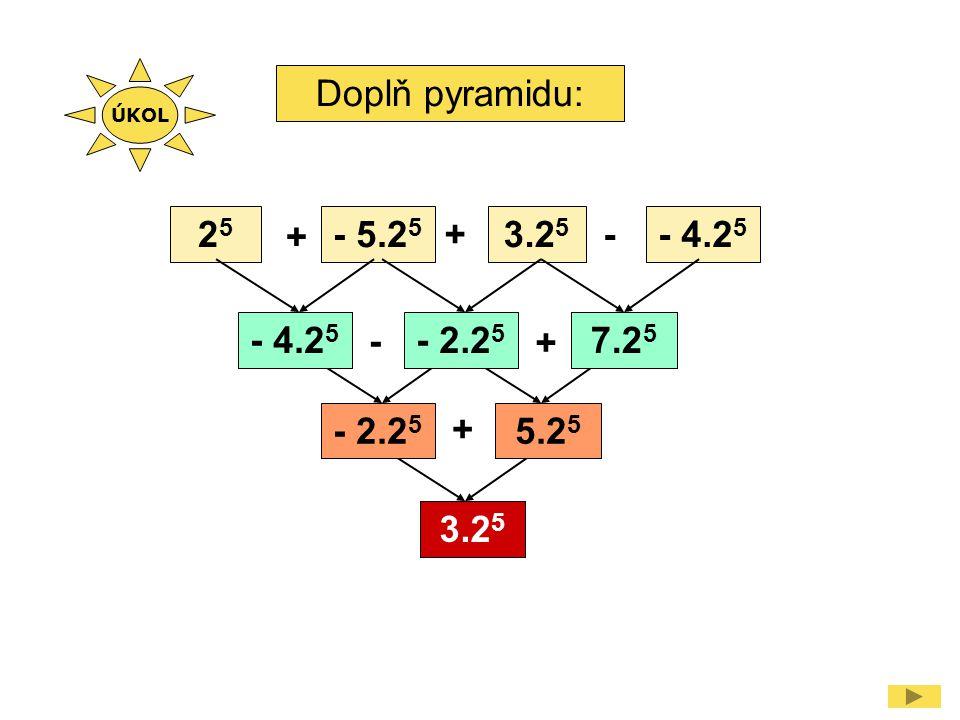 Doplň pyramidu: 2525 - 5.2 5 3.2 5 - 4.2 5 - + + - + + - 2.2 5 7.2 5 - 2.2 5 5.2 5 3.2 5 ÚKOL