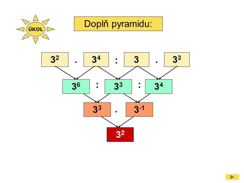 Doplň pyramidu: 3232 3434 33.. : ::. 36363 3434 3 3 -1 3232 ÚKOL