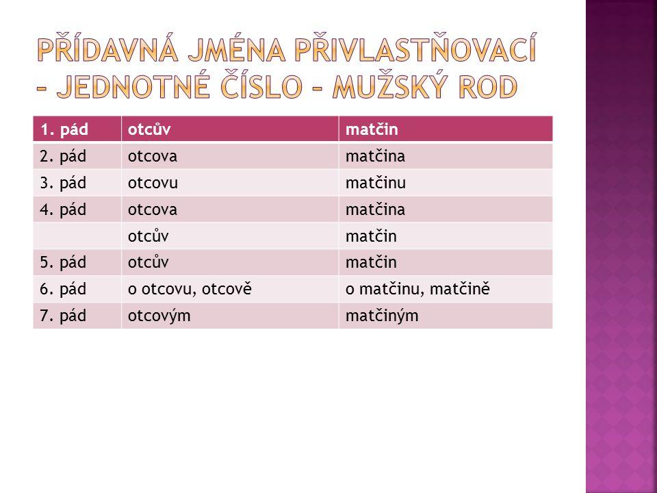  Materiál tvoří 13 slidů, v nichž je zopakována a prohloubena látka předchozích týkající se skloňování přídavných jmen  cílová skupina: 6.