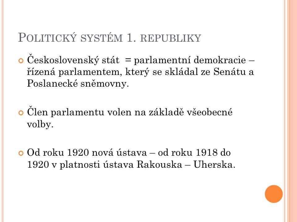 P OLITICKÝ SYSTÉM 1. REPUBLIKY Československý stát = parlamentní demokracie – řízená parlamentem, který se skládal ze Senátu a Poslanecké sněmovny. Čl