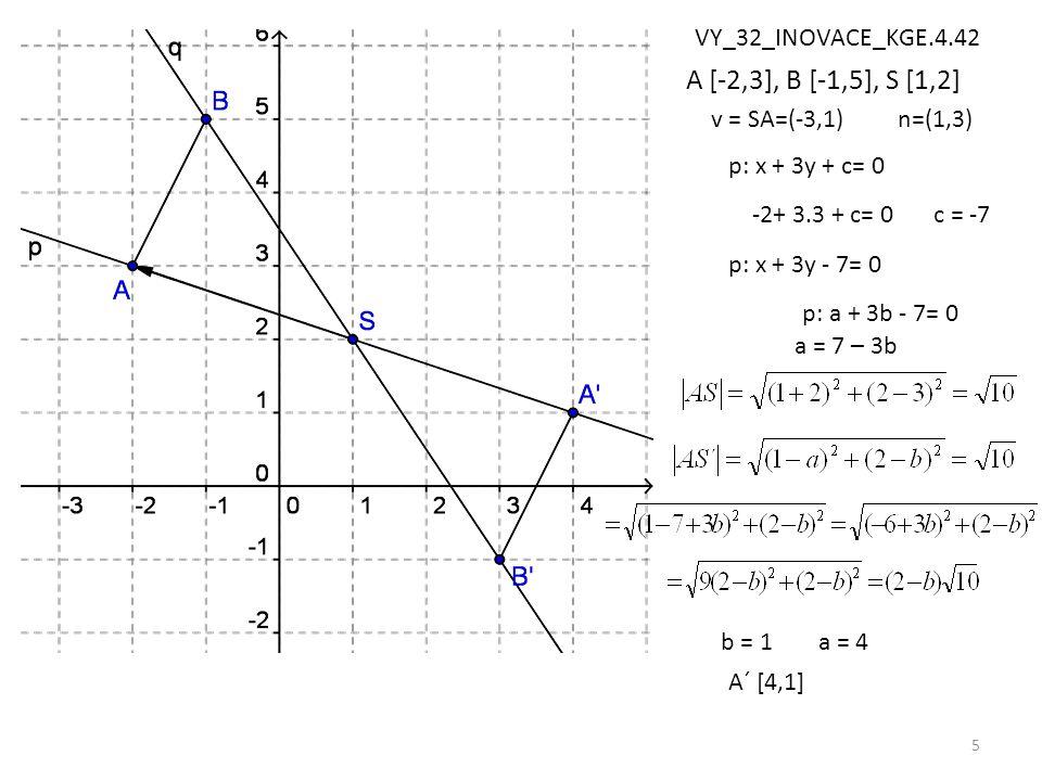 5 A [-2,3], B [-1,5], S [1,2] v = SA=(-3,1)n=(1,3) p: x + 3y + c= 0 -2+ 3.3 + c= 0c = -7 p: x + 3y - 7= 0 A´ [4,1] p: a + 3b - 7= 0 a = 7 – 3b b = 1a = 4 VY_32_INOVACE_KGE.4.42