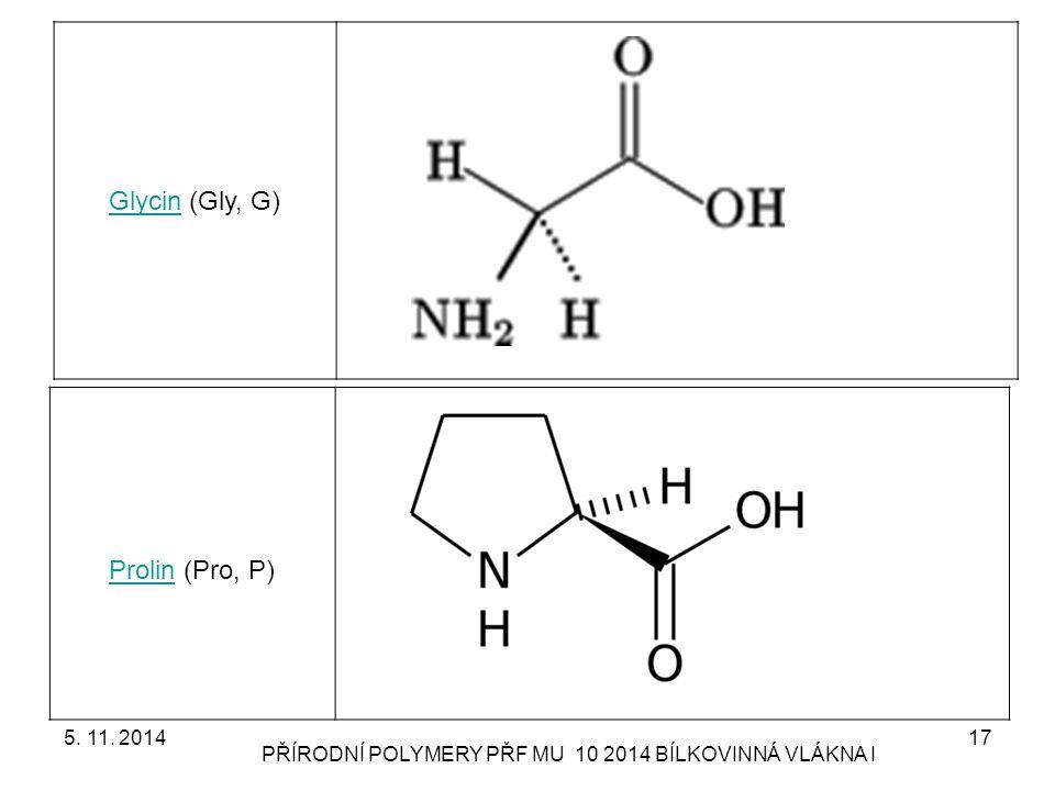 5. 11. 2014 PŘÍRODNÍ POLYMERY PŘF MU 10 2014 BÍLKOVINNÁ VLÁKNA I 17 GlycinGlycin (Gly, G) ProlinProlin (Pro, P)