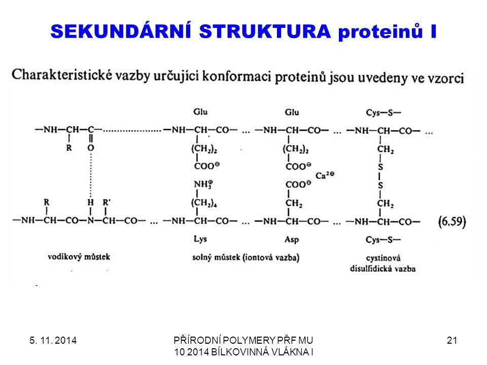 SEKUNDÁRNÍ STRUKTURA proteinů I 5. 11. 2014PŘÍRODNÍ POLYMERY PŘF MU 10 2014 BÍLKOVINNÁ VLÁKNA I 21