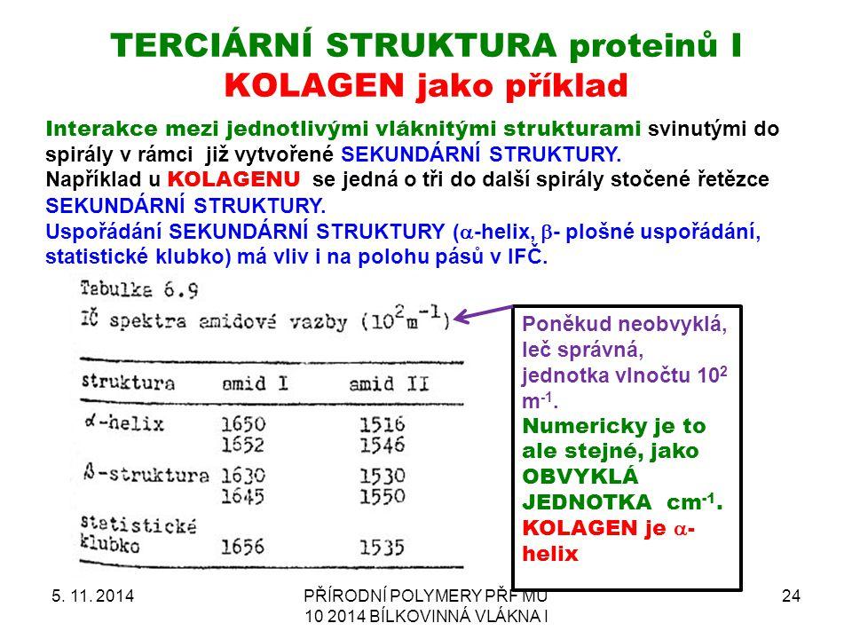 TERCIÁRNÍ STRUKTURA proteinů I KOLAGEN jako příklad 5. 11. 2014PŘÍRODNÍ POLYMERY PŘF MU 10 2014 BÍLKOVINNÁ VLÁKNA I 24 Interakce mezi jednotlivými vlá