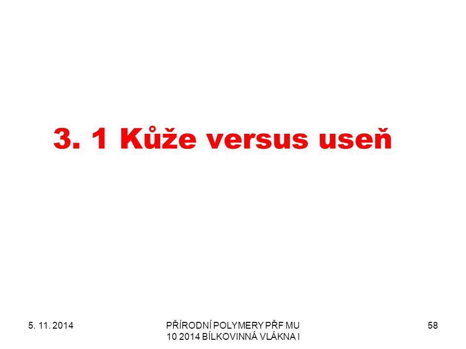 3.1 Kůže versus useň 5. 11. 2014PŘÍRODNÍ POLYMERY PŘF MU 10 2014 BÍLKOVINNÁ VLÁKNA I 58
