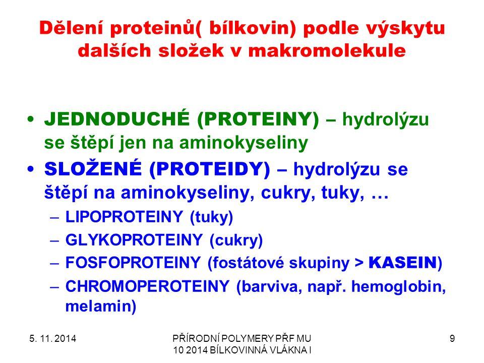 Dělení proteinů( bílkovin) podle výskytu dalších složek v makromolekule 5. 11. 2014PŘÍRODNÍ POLYMERY PŘF MU 10 2014 BÍLKOVINNÁ VLÁKNA I 9 JEDNODUCHÉ (