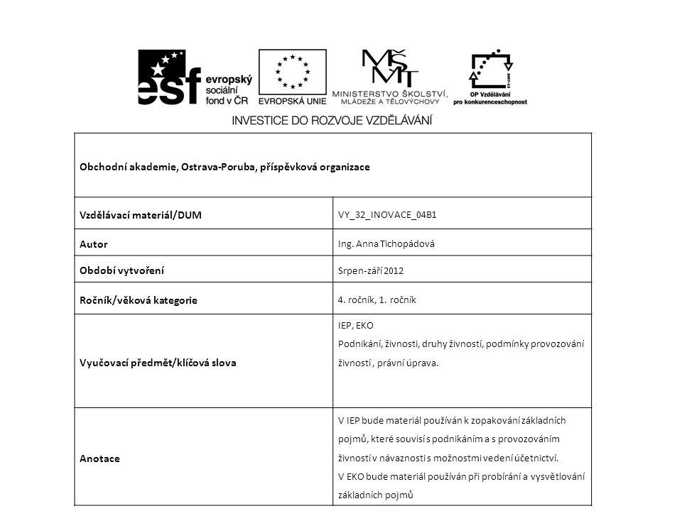 Obchodní akademie, Ostrava-Poruba, příspěvková organizace Vzdělávací materiál/DUM VY_32_INOVACE_04B1 Autor Ing.