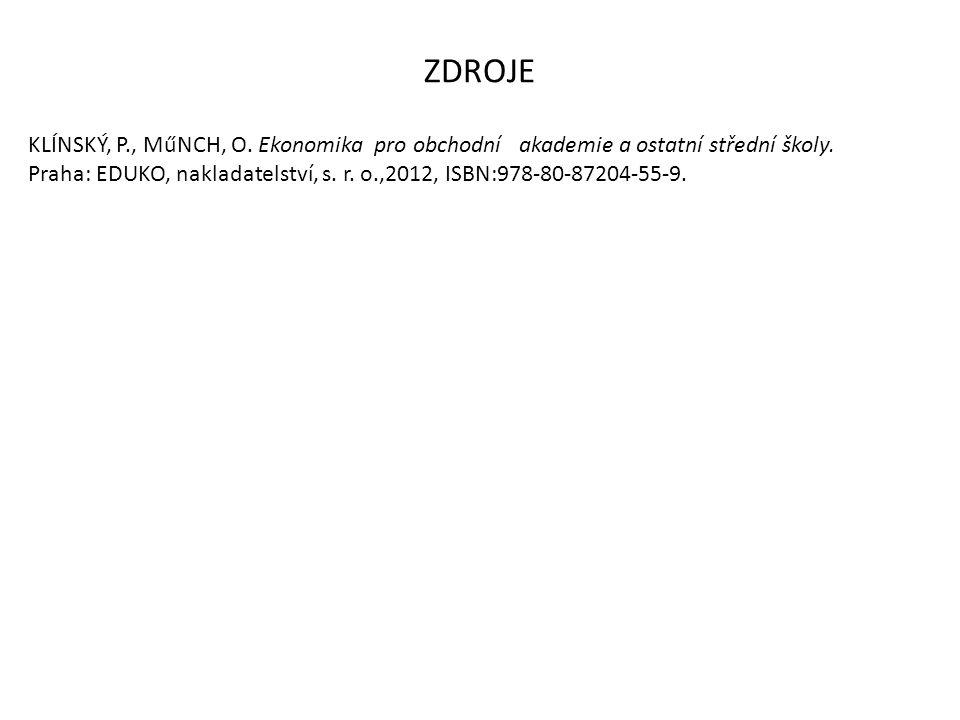 ZDROJE KLÍNSKÝ, P., MűNCH, O. Ekonomika pro obchodní akademie a ostatní střední školy. Praha: EDUKO, nakladatelství, s. r. o.,2012, ISBN:978-80-87204-