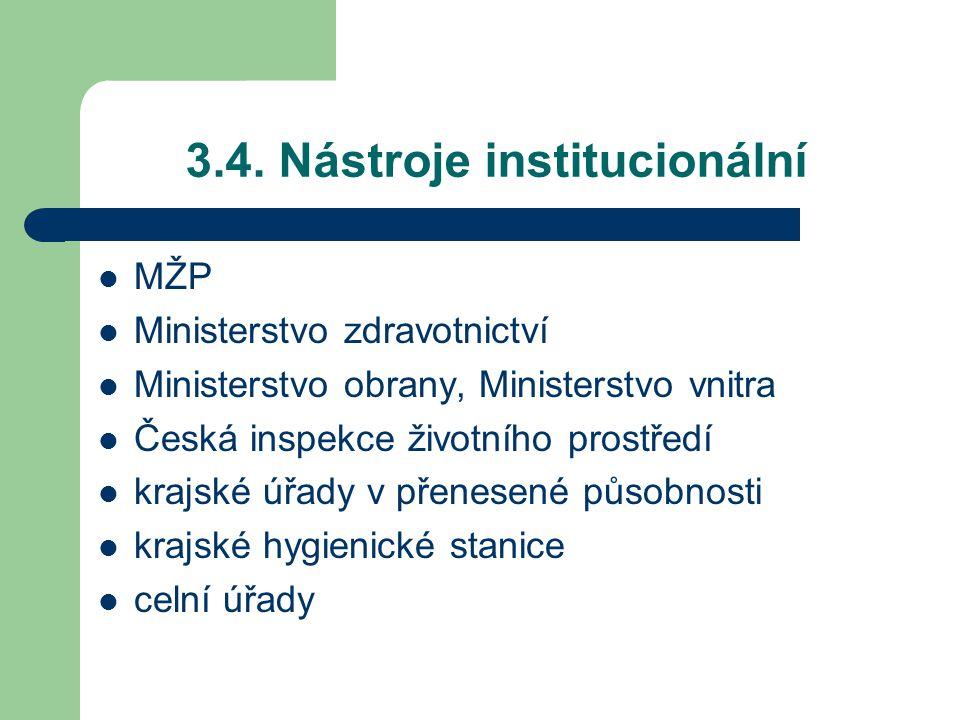 3.4. Nástroje institucionální MŽP Ministerstvo zdravotnictví Ministerstvo obrany, Ministerstvo vnitra Česká inspekce životního prostředí krajské úřady