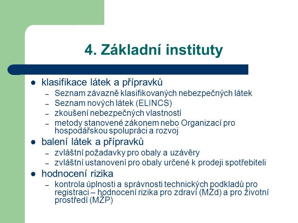 4. Základní instituty klasifikace látek a přípravků – Seznam závazně klasifikovaných nebezpečných látek – Seznam nových látek (ELINCS) – zkoušení nebe