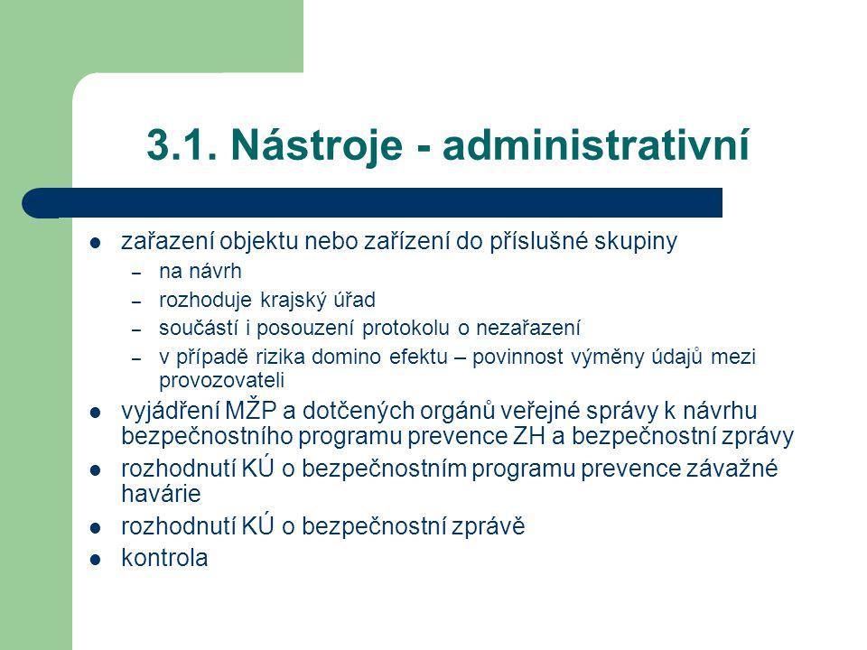 3.1. Nástroje - administrativní zařazení objektu nebo zařízení do příslušné skupiny – na návrh – rozhoduje krajský úřad – součástí i posouzení protoko