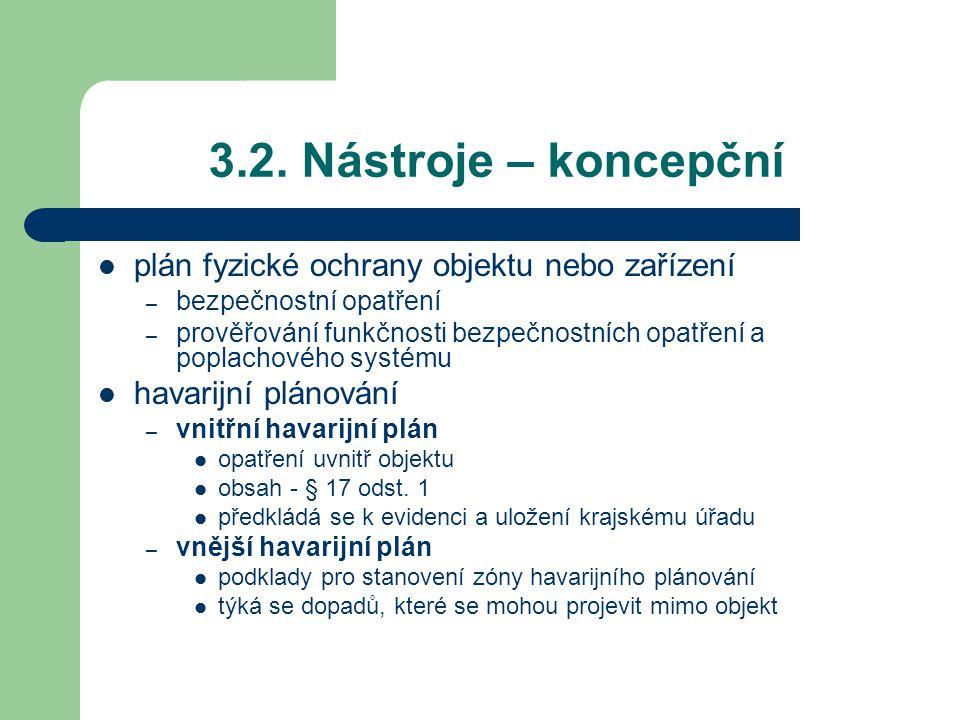 3.2. Nástroje – koncepční plán fyzické ochrany objektu nebo zařízení – bezpečnostní opatření – prověřování funkčnosti bezpečnostních opatření a poplac