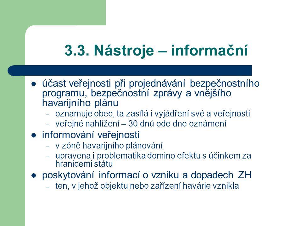 3.3. Nástroje – informační účast veřejnosti při projednávání bezpečnostního programu, bezpečnostní zprávy a vnějšího havarijního plánu – oznamuje obec