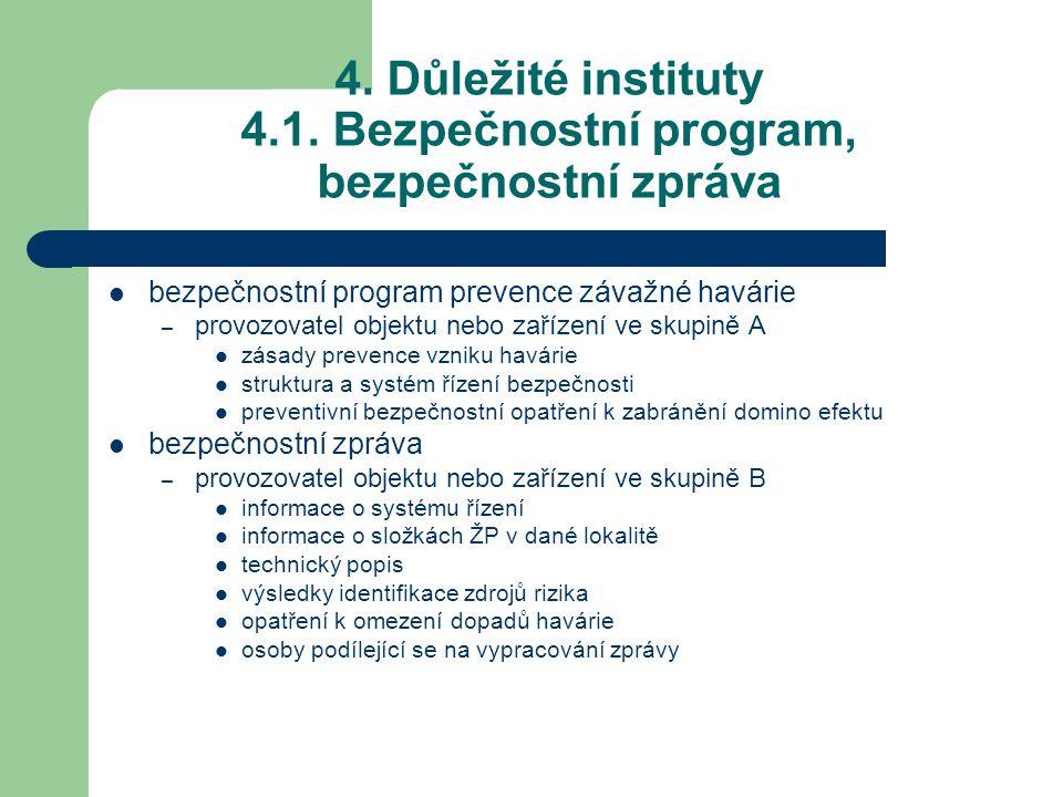4. Důležité instituty 4.1. Bezpečnostní program, bezpečnostní zpráva bezpečnostní program prevence závažné havárie – provozovatel objektu nebo zařízen