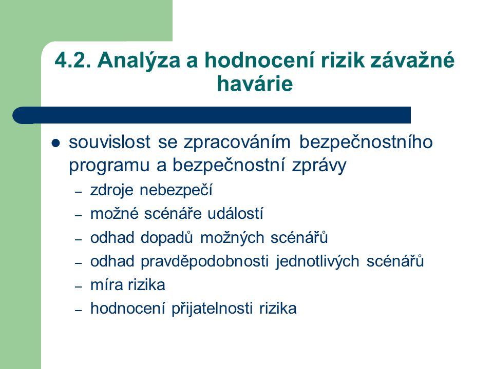 4.2. Analýza a hodnocení rizik závažné havárie souvislost se zpracováním bezpečnostního programu a bezpečnostní zprávy – zdroje nebezpečí – možné scén