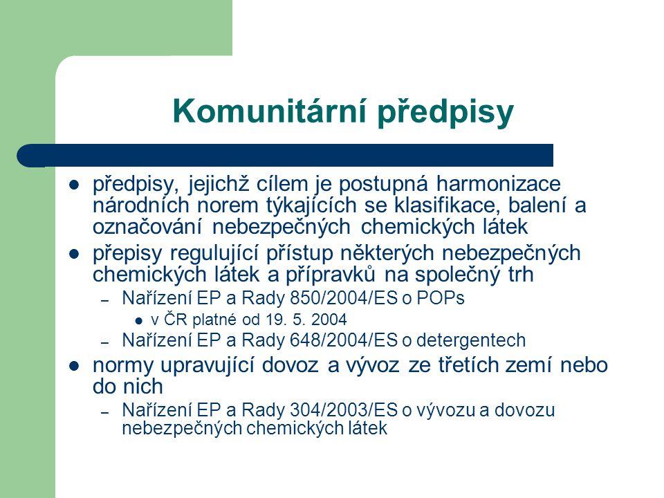 Komunitární předpisy předpisy, jejichž cílem je postupná harmonizace národních norem týkajících se klasifikace, balení a označování nebezpečných chemi