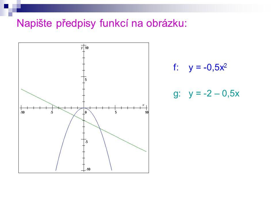 Napište předpisy funkcí na obrázku: f: y = 0,5x 2 g: y = -2 – 0,5x