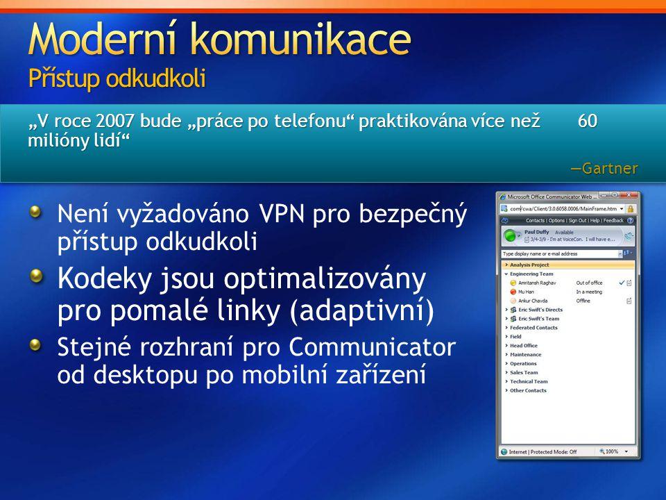 """""""V roce 2007 bude """"práce po telefonu praktikována více než 60 milióny lidí —Gartner —Gartner Není vyžadováno VPN pro bezpečný přístup odkudkoli Kodeky jsou optimalizovány pro pomalé linky (adaptivní) Stejné rozhraní pro Communicator od desktopu po mobilní zařízení"""