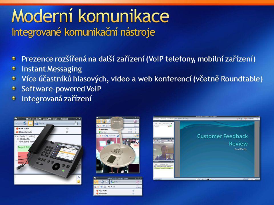Prezence rozšířená na další zařízení (VoIP telefony, mobilní zařízení) Instant Messaging Více účastníků hlasových, video a web konferencí (včetně Roun