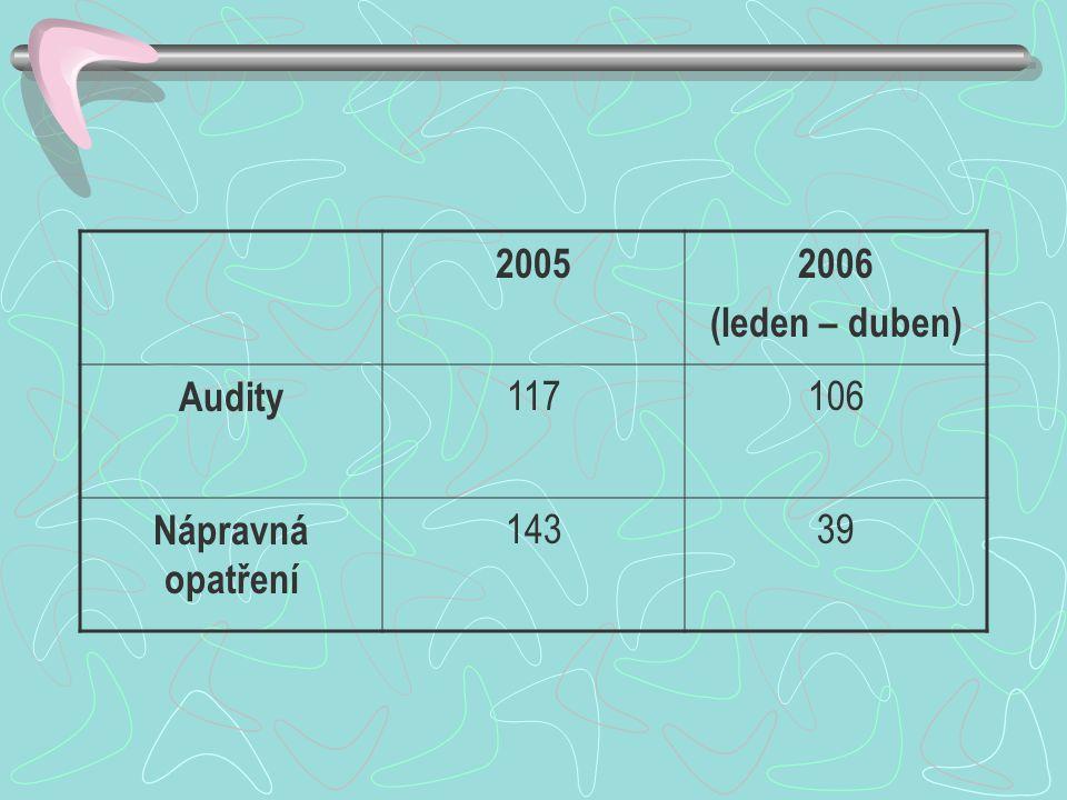 20052006 (leden – duben) Audity 117106 Nápravná opatření 14339