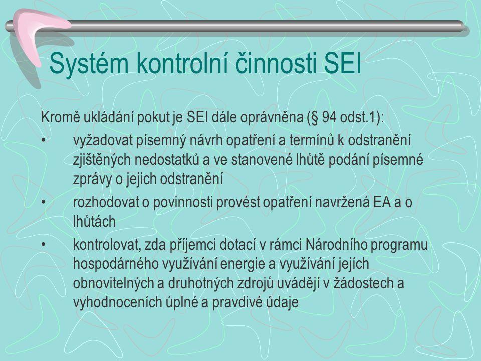 Systém kontrolní činnosti SEI Kromě ukládání pokut je SEI dále oprávněna (§ 94 odst.1): vyžadovat písemný návrh opatření a termínů k odstranění zjiště