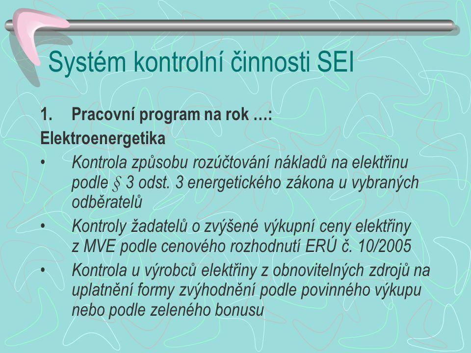 Systém kontrolní činnosti SEI 1.Pracovní program na rok …: Elektroenergetika Kontrola způsobu rozúčtování nákladů na elektřinu podle § 3 odst. 3 energ