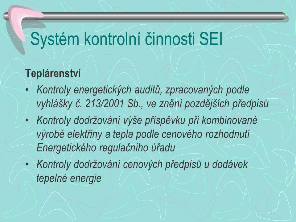 Systém kontrolní činnosti SEI Teplárenství Kontroly energetických auditů, zpracovaných podle vyhlášky č. 213/2001 Sb., ve znění pozdějších předpisů Ko