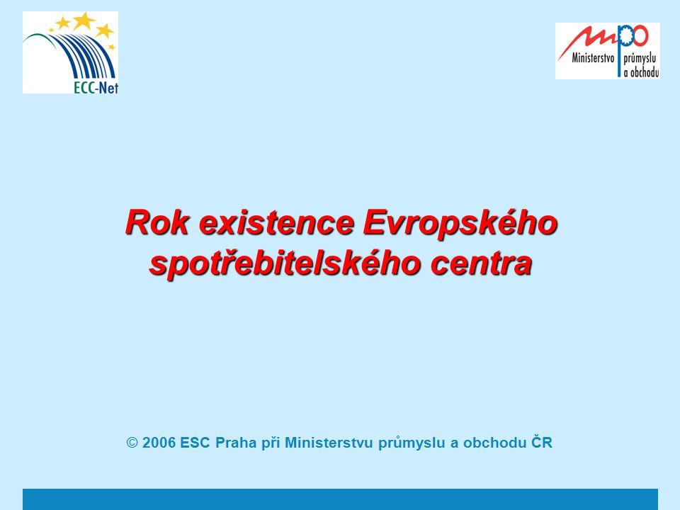 2 Vznik ESC a předpoklady existence Iniciativa Evropské komise - Realizace Koncepce na ochranu spotřebitele na léta 2002 – 2006, žádost MPO ČR o grant.