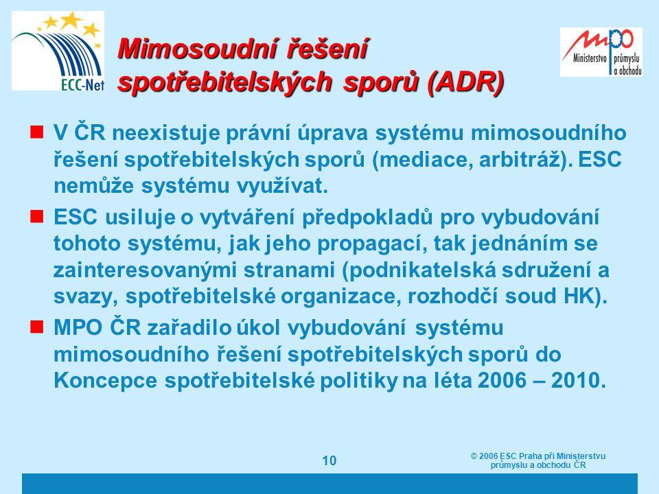 10 Mimosoudní řešení spotřebitelských sporů (ADR) V ČR neexistuje právní úprava systému mimosoudního řešení spotřebitelských sporů (mediace, arbitráž).