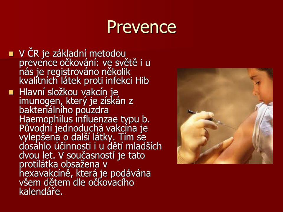 Prevence V ČR je základní metodou prevence očkování: ve světě i u nás je registrováno několik kvalitních látek proti infekci Hib V ČR je základní meto