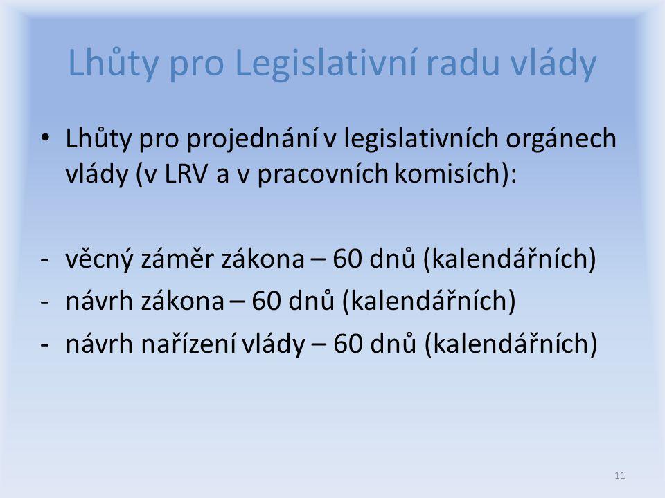 Lhůty pro Legislativní radu vlády Lhůty pro projednání v legislativních orgánech vlády (v LRV a v pracovních komisích): -věcný záměr zákona – 60 dnů (kalendářních) -návrh zákona – 60 dnů (kalendářních) -návrh nařízení vlády – 60 dnů (kalendářních) 11