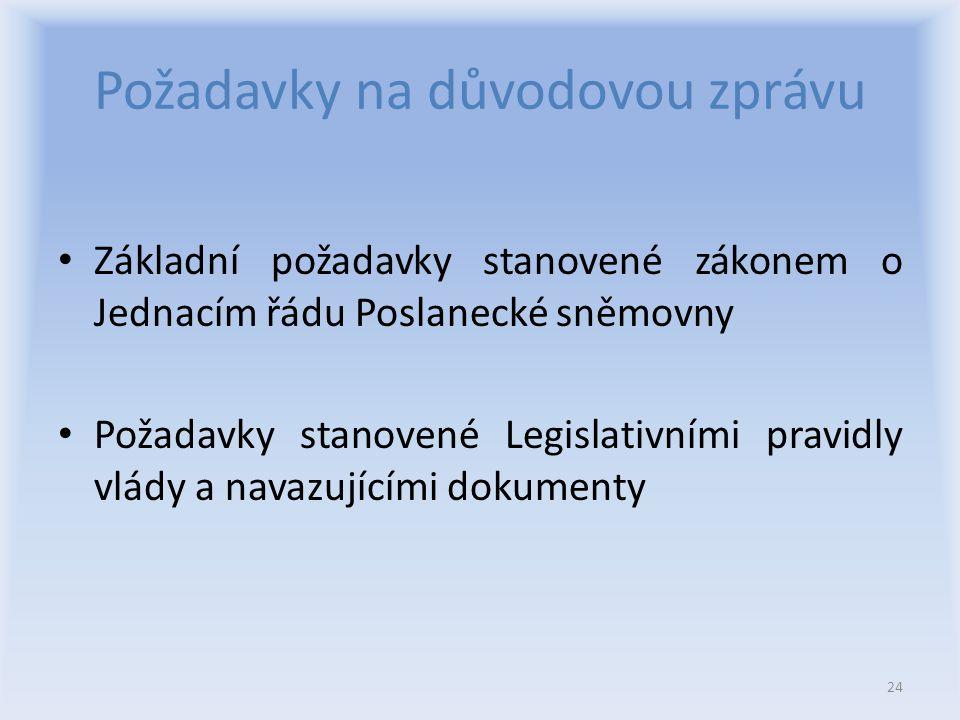 Požadavky na důvodovou zprávu Základní požadavky stanovené zákonem o Jednacím řádu Poslanecké sněmovny Požadavky stanovené Legislativními pravidly vlády a navazujícími dokumenty 24