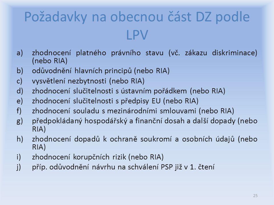 Požadavky na obecnou část DZ podle LPV a)zhodnocení platného právního stavu (vč.