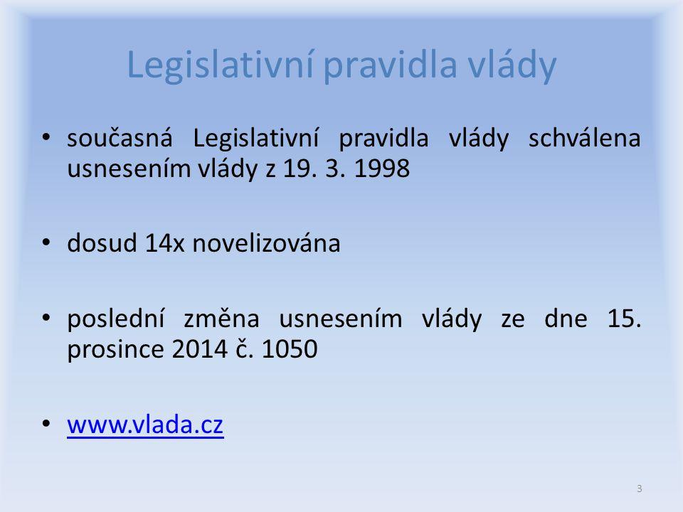Význam Legislativních pravidel vlády - sjednotit postup ministerstev a jiných ústředních orgánů státní správy při přípravě právních předpisů - přispět ke zvýšení úrovně tvorby právního řádu.