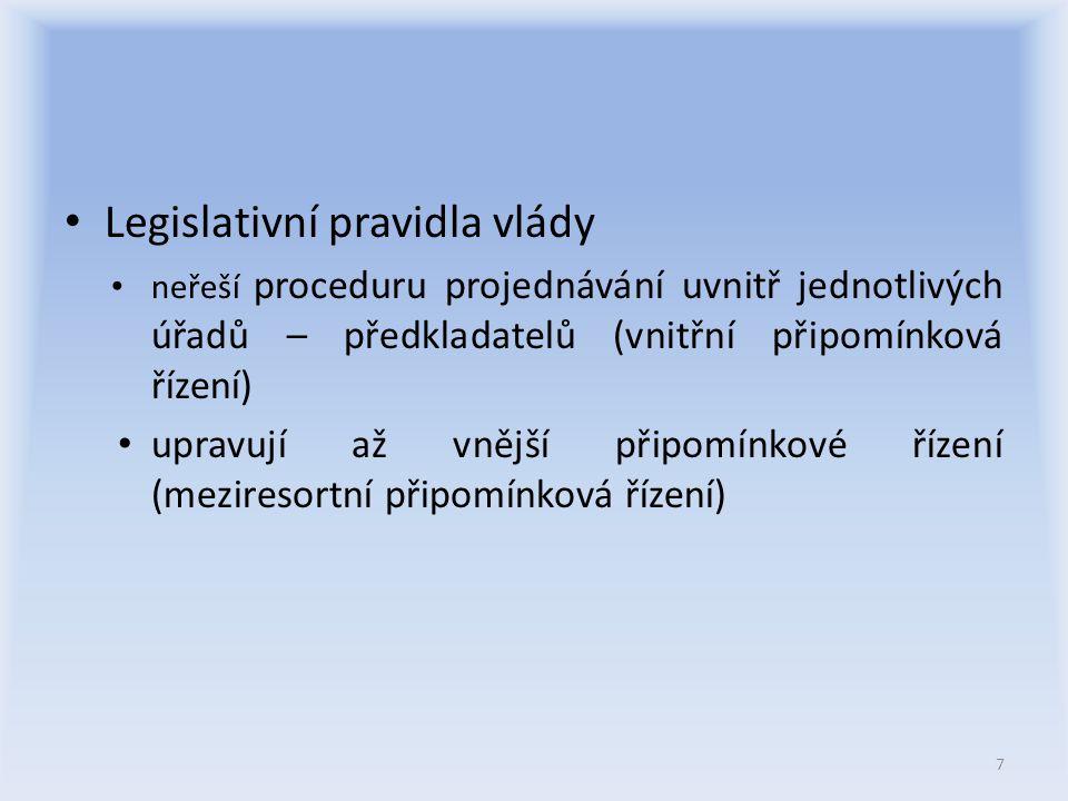 Připomínkové řízení - lhůty Lhůty pro připomínkové řízení: -věcný záměr – 15 pracovních dnů -návrh zákona – 20 pracovních dnů -návrh nařízení vlády – 15 pracovních dnů -návrh vyhlášky – 15 pracovních dnů -výjimky (mj.