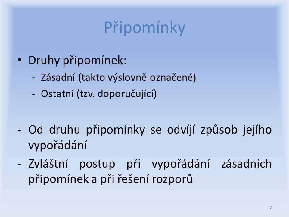 Připomínky Druhy připomínek: -Zásadní (takto výslovně označené) -Ostatní (tzv.