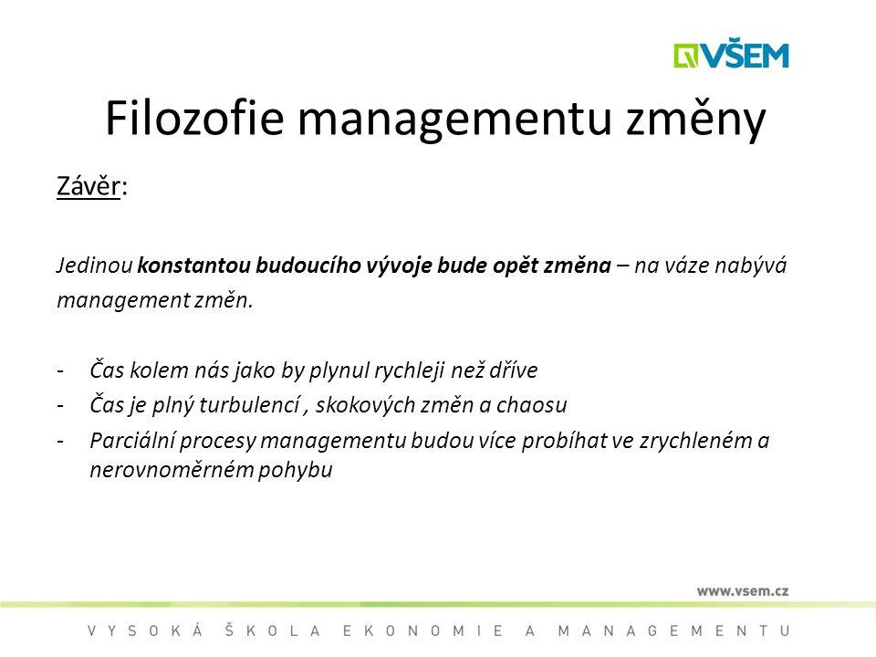 Filozofie managementu změny Závěr: Jedinou konstantou budoucího vývoje bude opět změna – na váze nabývá management změn. -Čas kolem nás jako by plynul