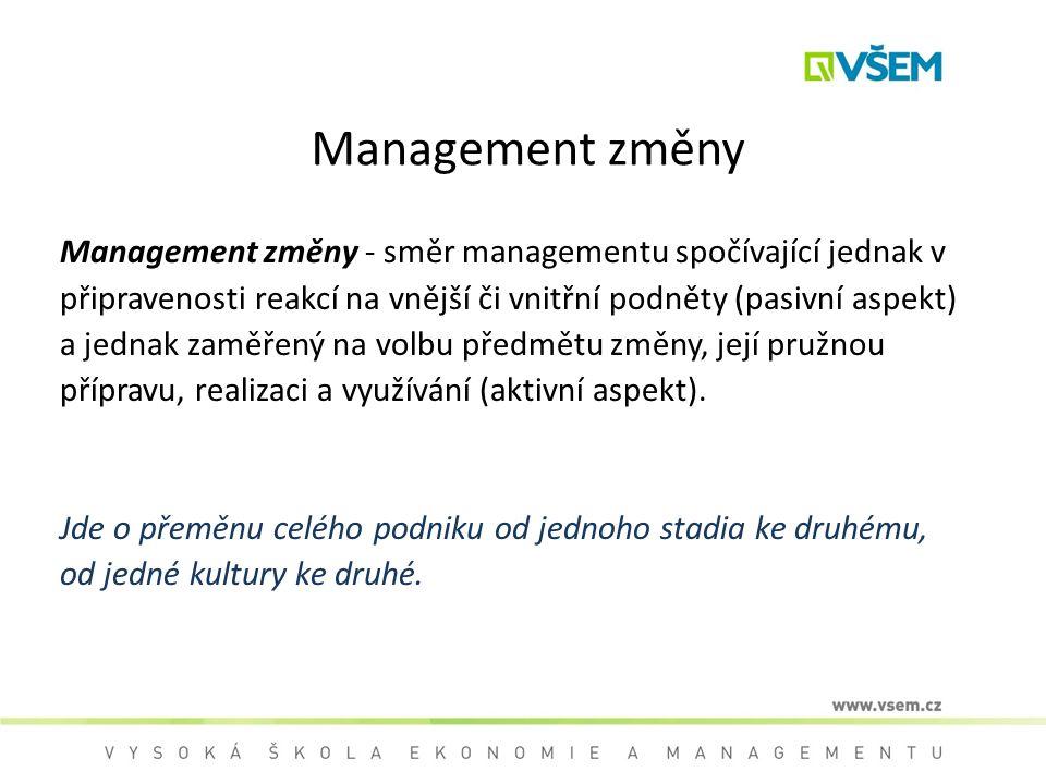 Management změny Management změny - směr managementu spočívající jednak v připravenosti reakcí na vnější či vnitřní podněty (pasivní aspekt) a jednak