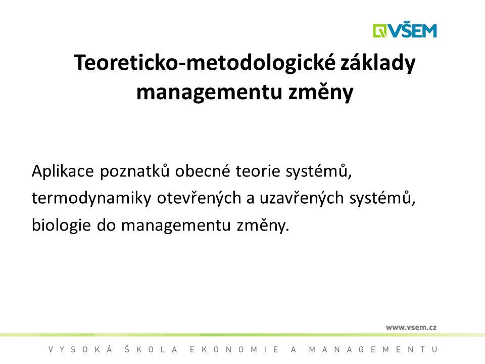 Teoreticko-metodologické základy managementu změny Aplikace poznatků obecné teorie systémů, termodynamiky otevřených a uzavřených systémů, biologie do