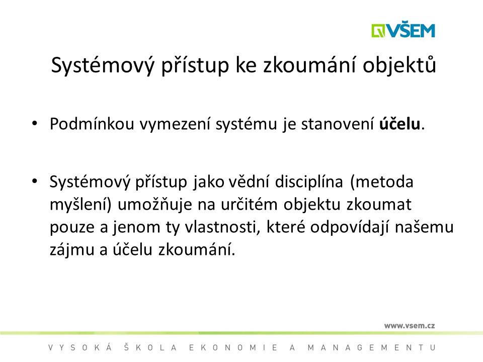 Systémový přístup ke zkoumání objektů Podmínkou vymezení systému je stanovení účelu. Systémový přístup jako vědní disciplína (metoda myšlení) umožňuje