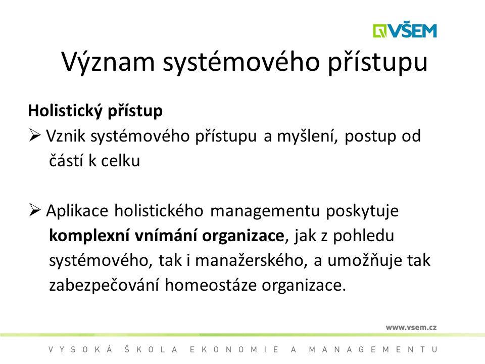 Význam systémového přístupu Holistický přístup  Vznik systémového přístupu a myšlení, postup od částí k celku  Aplikace holistického managementu pos
