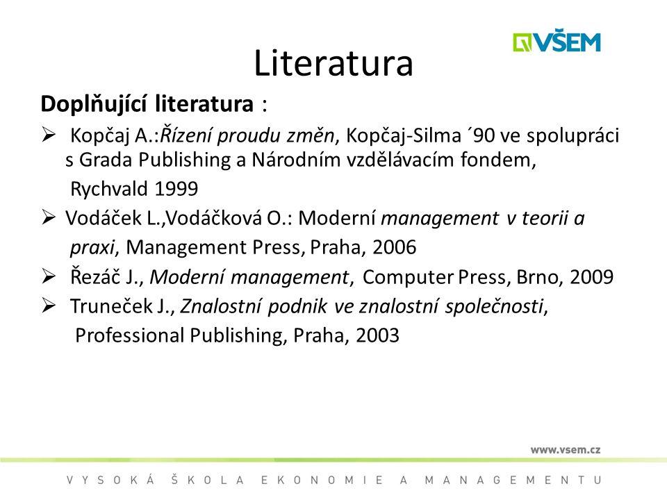 Literatura Doplňující literatura :  Kopčaj A.:Řízení proudu změn, Kopčaj-Silma ´90 ve spolupráci s Grada Publishing a Národním vzdělávacím fondem, Ry