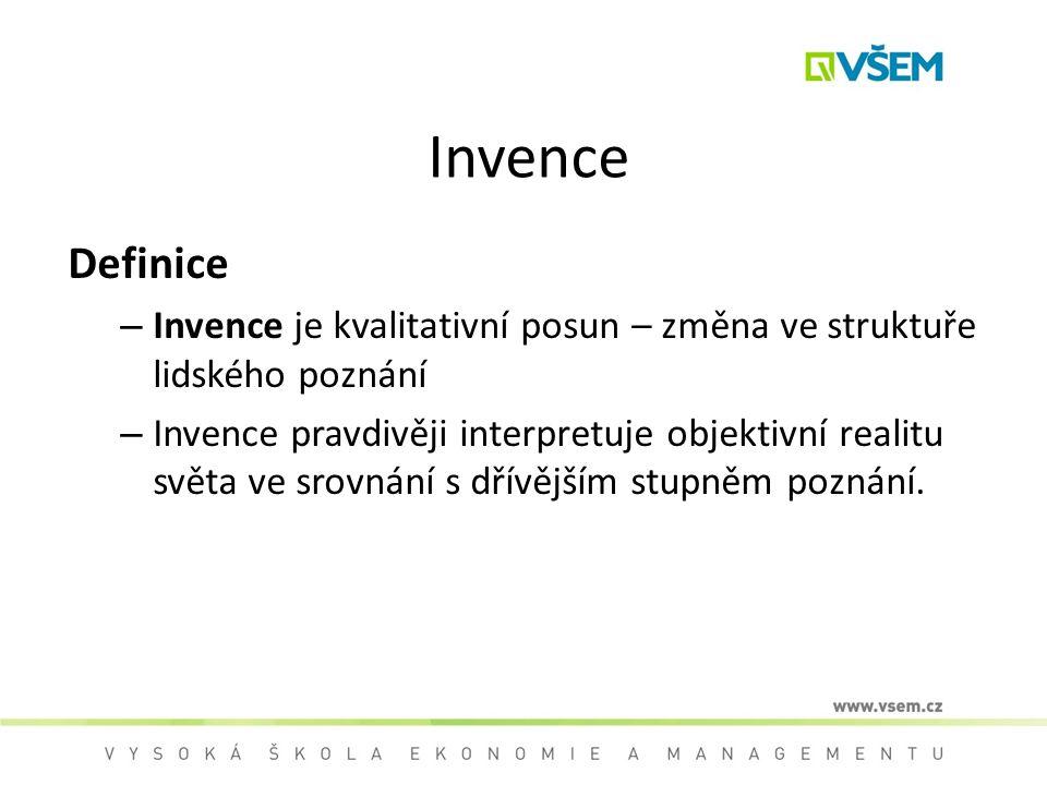 Invence Definice – Invence je kvalitativní posun – změna ve struktuře lidského poznání – Invence pravdivěji interpretuje objektivní realitu světa ve s