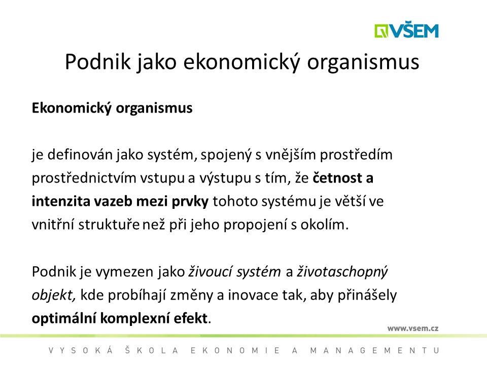 Podnik jako ekonomický organismus Ekonomický organismus je definován jako systém, spojený s vnějším prostředím prostřednictvím vstupu a výstupu s tím,