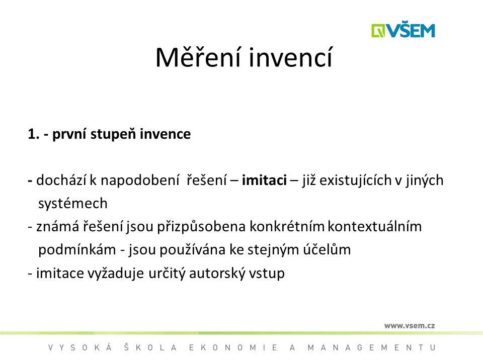 Měření invencí 1. - první stupeň invence - dochází k napodobení řešení – imitaci – již existujících v jiných systémech - známá řešení jsou přizpůsoben
