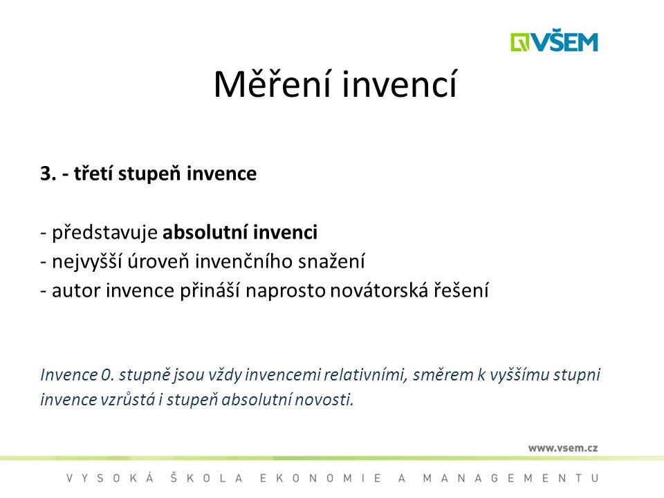 Měření invencí 3. - třetí stupeň invence - představuje absolutní invenci - nejvyšší úroveň invenčního snažení - autor invence přináší naprosto novátor