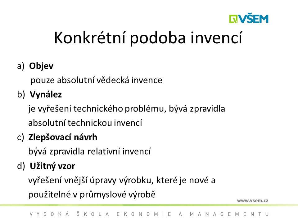 Konkrétní podoba invencí a) Objev pouze absolutní vědecká invence b) Vynález je vyřešení technického problému, bývá zpravidla absolutní technickou inv