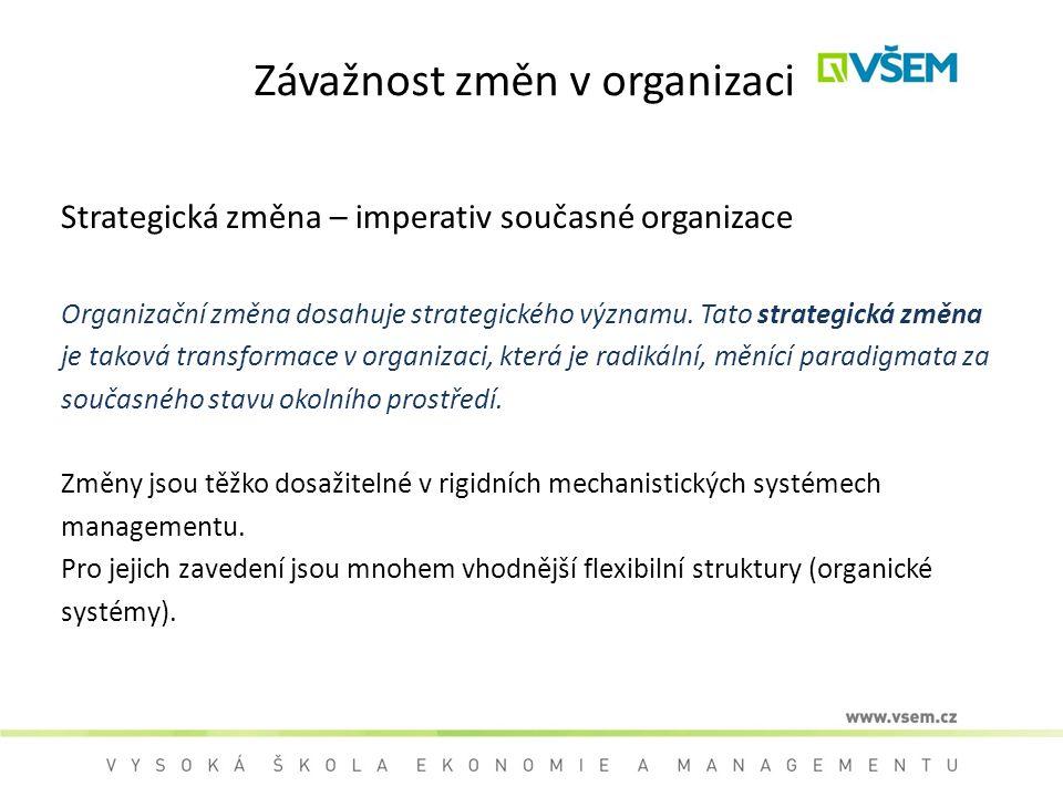 Závažnost změn v organizaci Strategická změna – imperativ současné organizace Organizační změna dosahuje strategického významu. Tato strategická změna