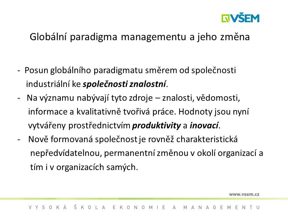 Globální paradigma managementu a jeho změna - Posun globálního paradigmatu směrem od společnosti industriální ke společnosti znalostní. - Na významu n