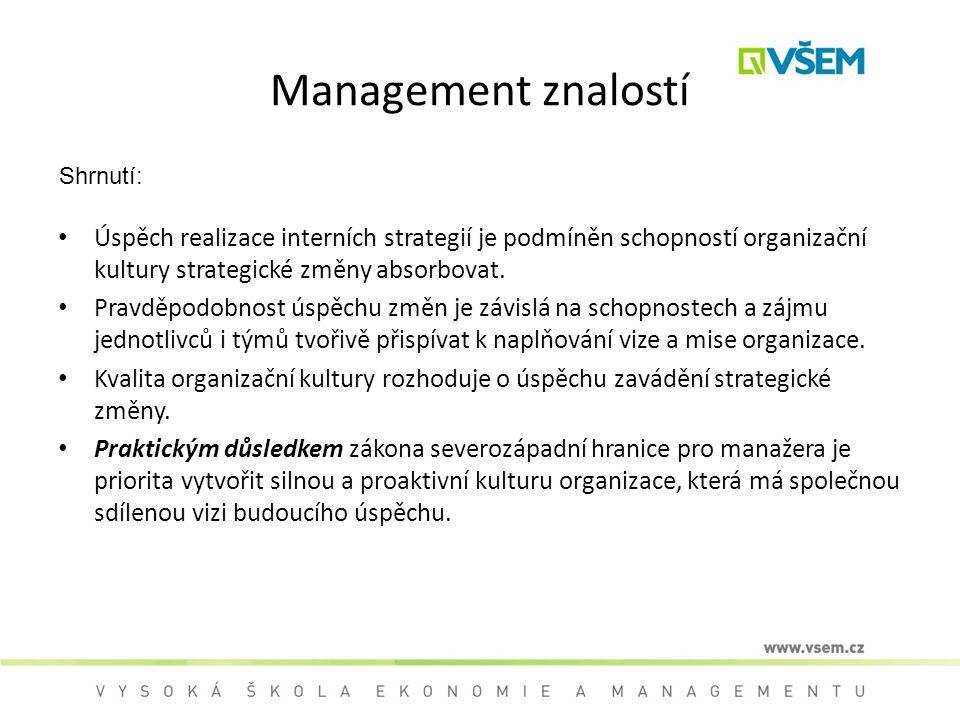 Management znalostí Shrnutí: Úspěch realizace interních strategií je podmíněn schopností organizační kultury strategické změny absorbovat. Pravděpodob